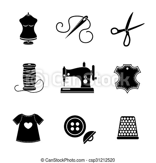 Set of sewing icons - machine, scissors, thread, leather tag, mannequin, needle, buttons, thimble, fabric. Vector - csp31212520