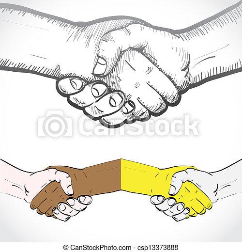 Set of shaking hands - illustration - csp13373888
