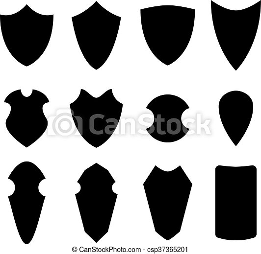 Set of shield in silhouette style, vector - csp37365201