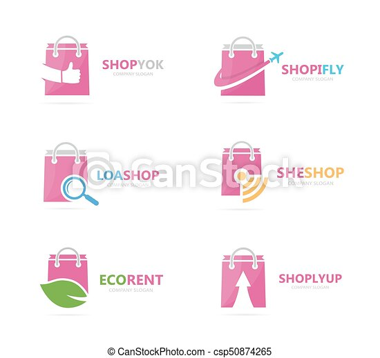 Set of shop logo combination. Deal and retail symbol or icon. Unique sale and bag logotype design template. - csp50874265