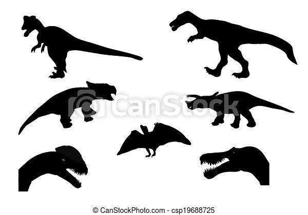 Set of Silhouette Dinosaur. Black Vector Illustration. - csp19688725