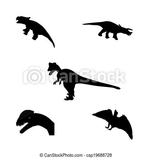 Set of Silhouette Dinosaur. Black Vector Illustration. - csp19688728