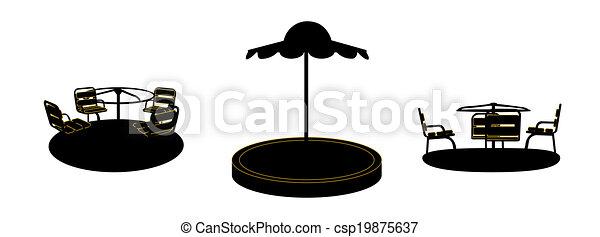Set of Silhouette Swing Black on White Background. Vector Illustration. - csp19875637