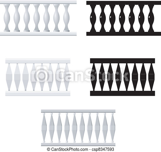 Set of silhouettes balusters - csp8347593
