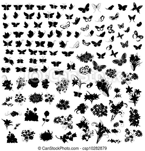 set of silhouettes butterfly and flowers - csp10282879