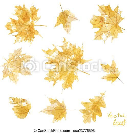 set of silhouettes of maple leaves in watercolor, vector illustration - csp23776598