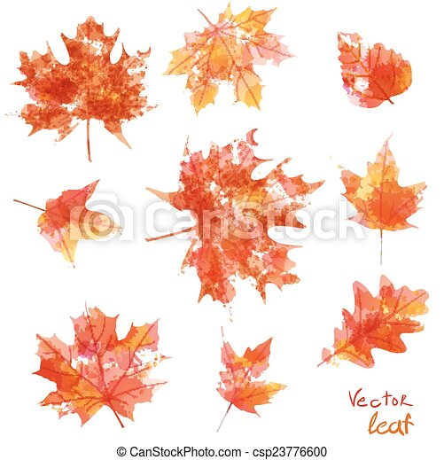 set of silhouettes of maple leaves in watercolor, vector illustration - csp23776600