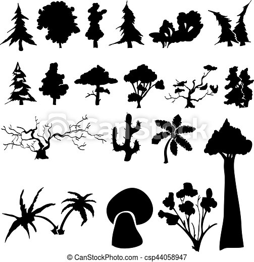 Set of silhouettes of trees - csp44058947