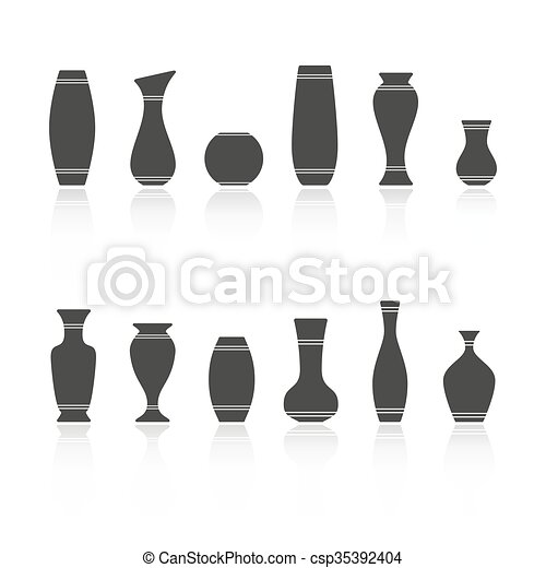 Set Of Silhouettes Of Vases Isolated On White Background Vector