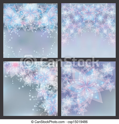 Set of silver backgrounds with flowers. Set of greeting or invitation cards. Festive glowing floral banners. - csp15019486