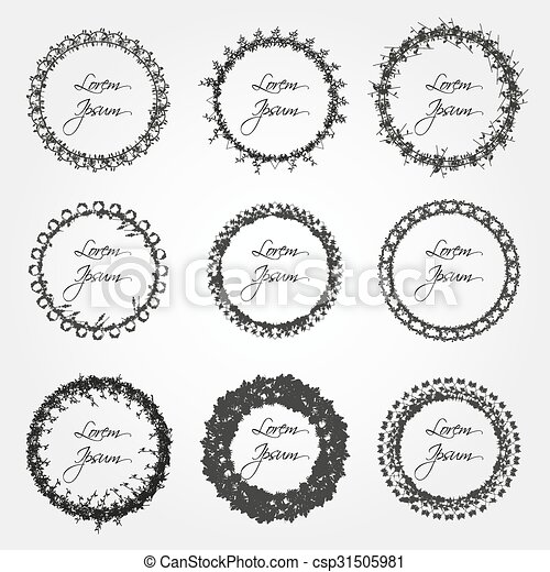 set of simple abstract floral circle border decorations eps10 - csp31505981