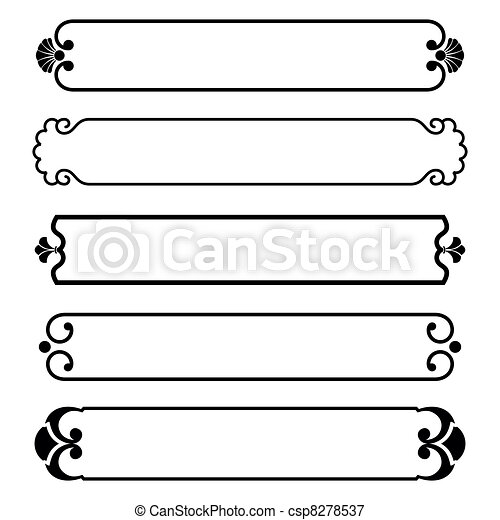 vector set of simple black banners border frame vectors illustration rh canstockphoto com frame vectors free frame free vectors download