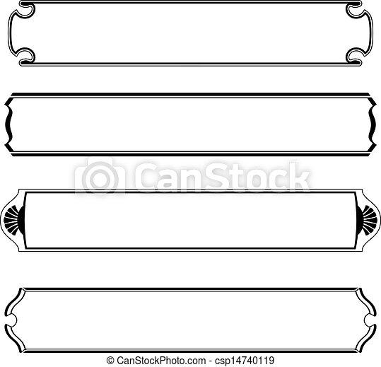 vector set of simple black banners border frame