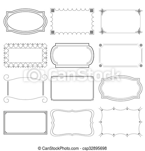 set of simple borders from lines for banners eps10 - csp32895698