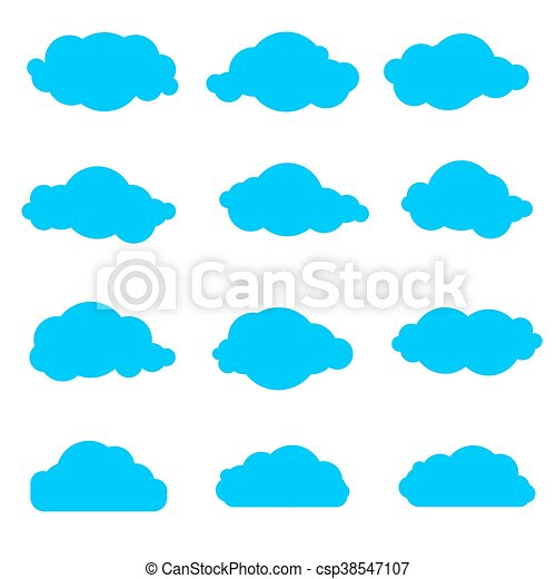 set of simple clouds collection of blue clouds on a white vector rh canstockphoto com clouds vector free clouds vectors free download