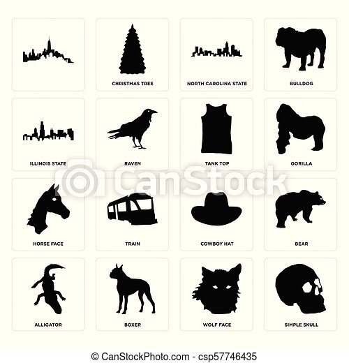 Set of simple skull, wolf face, alligator, cowboy hat, horse tank top,  illinois state, north carolina icons