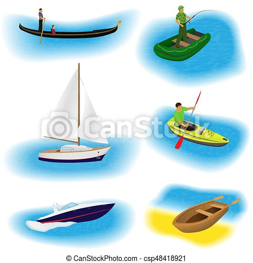 set of six different kind boats isolated on a white background