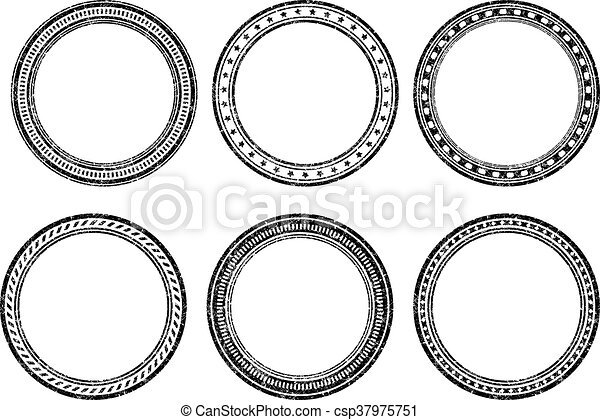 Set of six grunge vector templates for rubber stamps - csp37975751