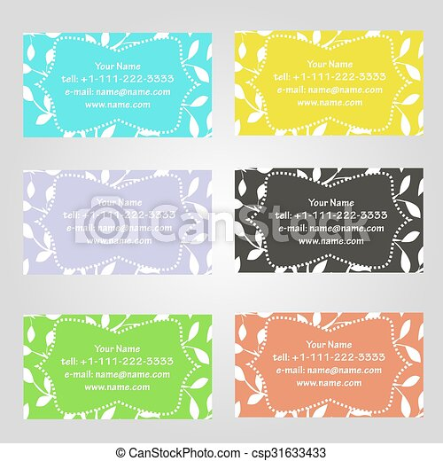 Set of six horizontal business cards in different colors vintage set of six horizontal business cards in different colors vintage pattern with leaves complied with the standard sizes colourmoves
