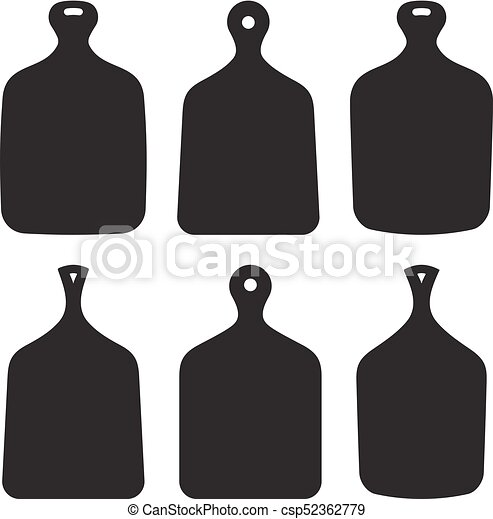 Set Of Six Vector Kitchen Cutting Boards Silhouettes