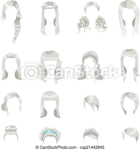 Set of sixteen different gray hairstyles for women - csp21442845