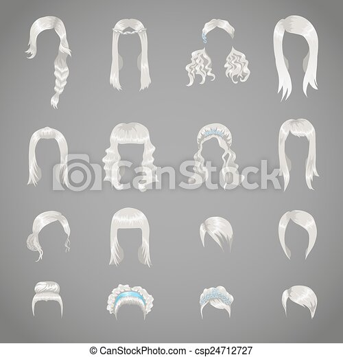 Set of sixteen different gray hairstyles for women - csp24712727