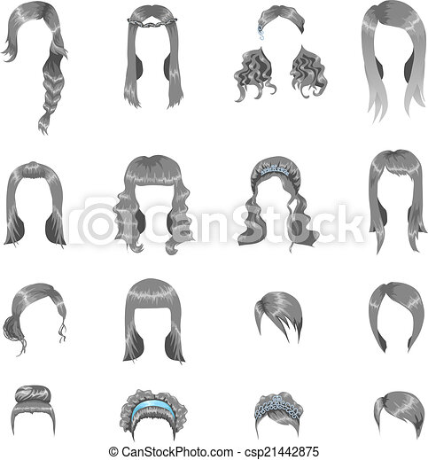 Set of sixteen different gray hairstyles for women - csp21442875