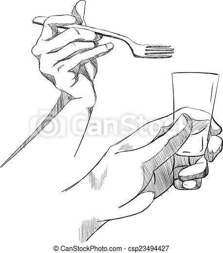 Set of sketch hands. - csp23494427