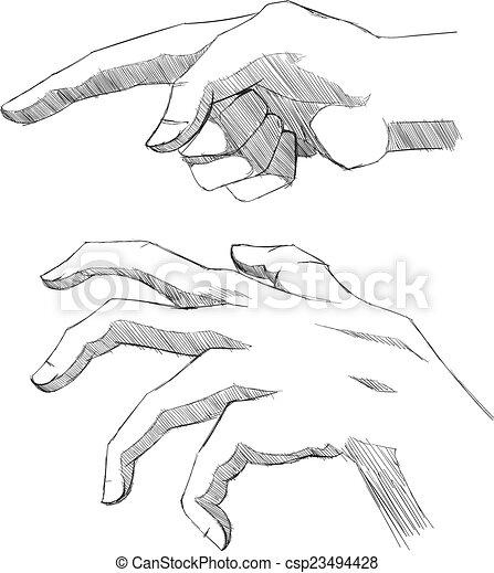 Set of sketch hands. - csp23494428