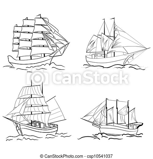 Set of sketch sailing vessel - csp10541037