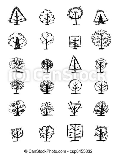 Set of sketch trees for your design - csp6455332
