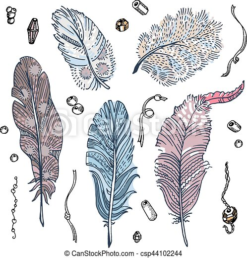 Set of sketched feathers, beads and ribbons - csp44102244