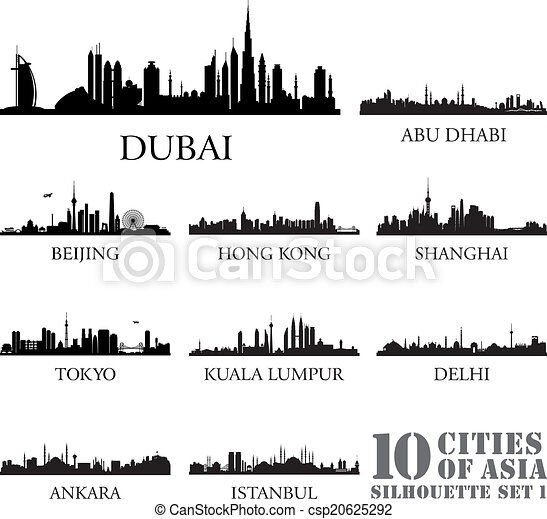 Set of skyline cities silhouettes. 10 cities of Asia #1 - csp20625292