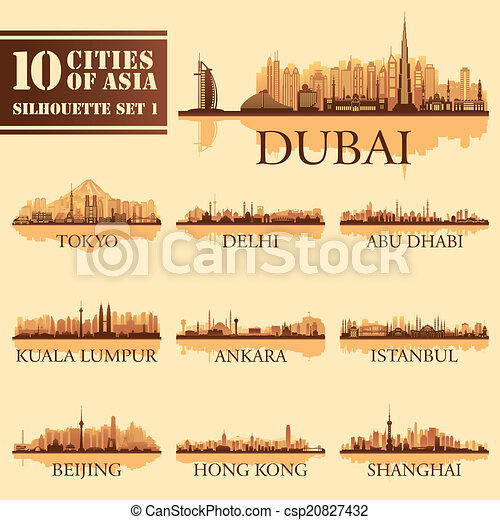 Set of skyline cities silhouettes. 10 cities of Asia 1 - csp20827432