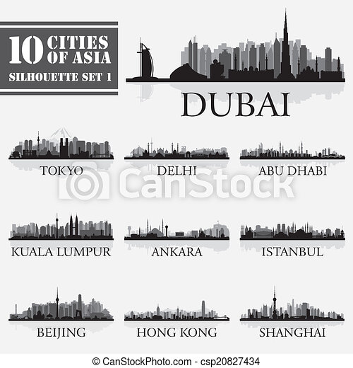 Set of skyline cities silhouettes. 10 cities of Asia 1 - csp20827434
