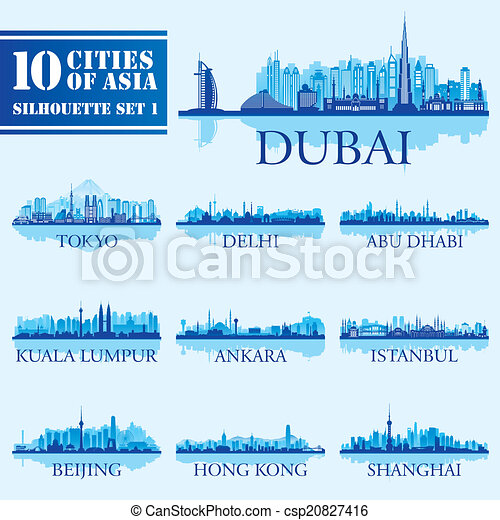 Set of skyline cities silhouettes. 10 cities of Asia 1 - csp20827416