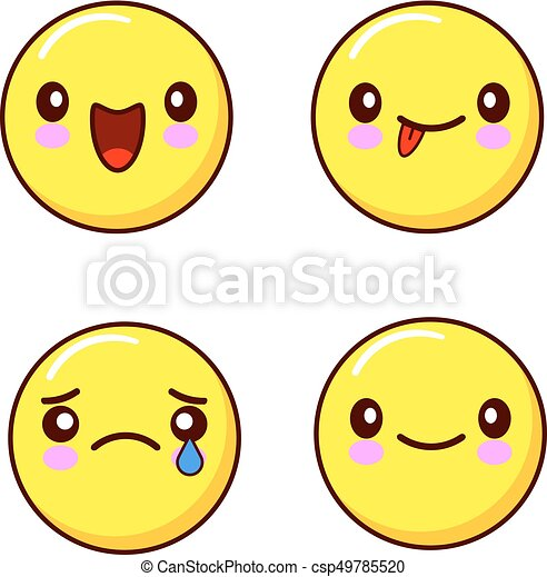 Set Of Smiley Face Icons Or Yellow Emoticons With Different Facial