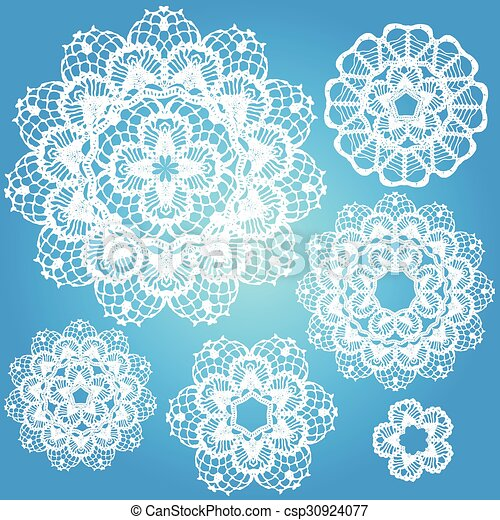 Set of snowflakes doilies. - csp30924077