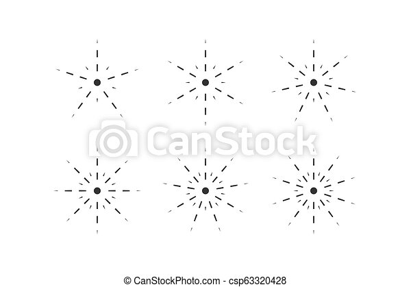 Set of snowflakes from dashed lines - csp63320428