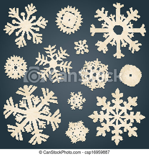 Set of snowflakes from old paper - csp16959887