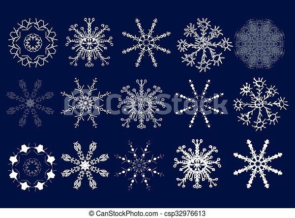 Set of snowflakes. Hand draw. Vector illustration - csp32976613