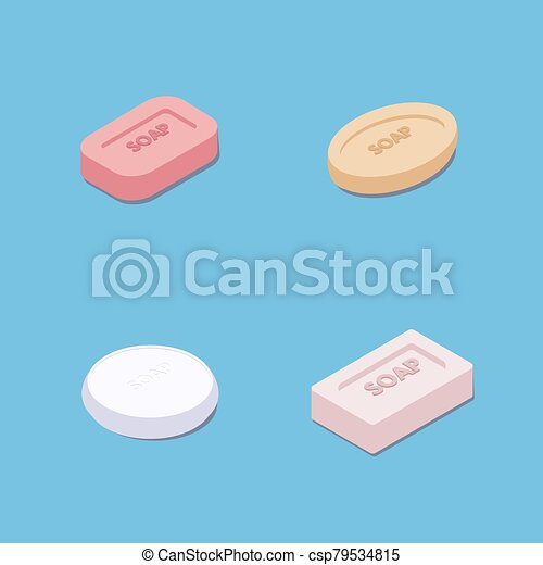 set of soap soap flat style isometric style vector illustration square round and other soap shapes colorful soaps https www canstockphoto com set of soap 79534815 html