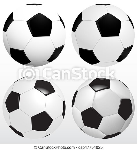 Set Of Soccer Ball, Football Vector On White Background, Sport Concept - csp47754825