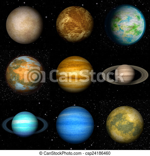 Set of Solar system planets generated textures - csp24186460