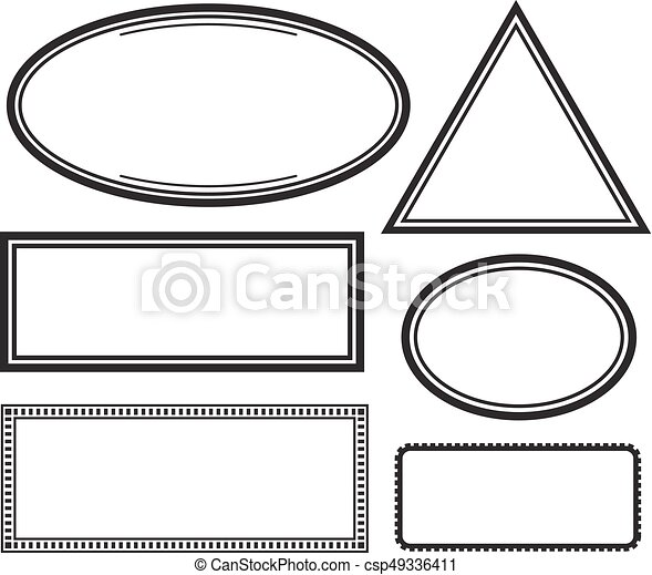 set of solid templates for rubber stamps vector illustration