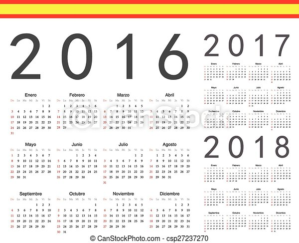 set of spanish 2016 2017 2018 year vector calendars week starts from sunday