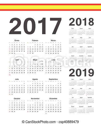 set of spanish 2017 2018 2019 year vector calendars