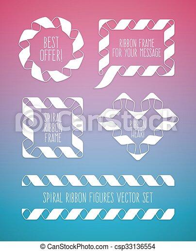 Set of spiral ribbon frames circle, square and the heart symbol - csp33136554