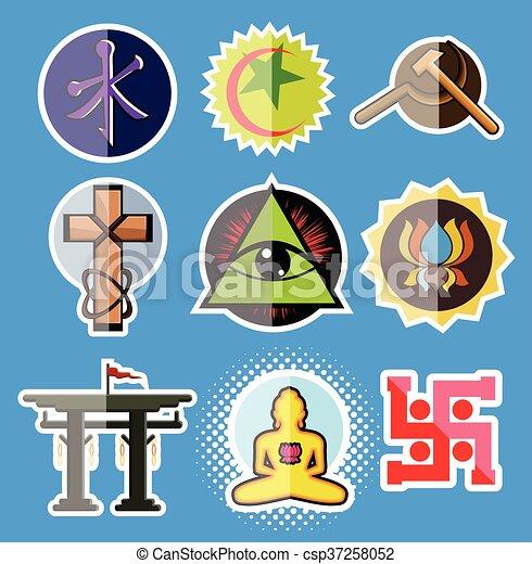 Set Of Spiritual Religious Symbols Vector Illustration Clipart