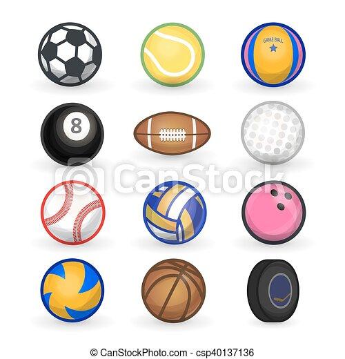 vector set of sport balls soccer bowling tennis vectors rh canstockphoto com clipart sports balls clipart pictures sports balls